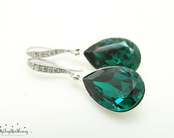 Emerald Green Earrings Swarovski Crystal Earrings Teardrop Earrings Bridal Earrings Bridesmaid Gifts Emerald drop earrings