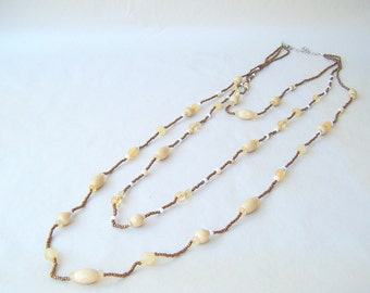 Vintage 3 Strand Bead Necklace Long Length Multi Strand Brown Wood Boho
