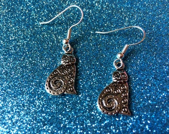 Spiral Cat Pierced Earrings, Dangle Earrings, Drop Earrings  Earrings for pierced ears Gifts for her Cat Lover earrings