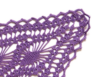 Purple hand dyed Crochet Vintage oval Doily
