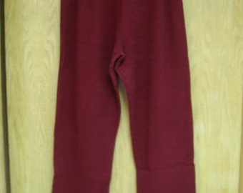 vintage womens dark red  thermal cotton/spandex 'Blue Fish'  pants . . .  size 1 (medium) . . . gently  worn . . . made in the USA