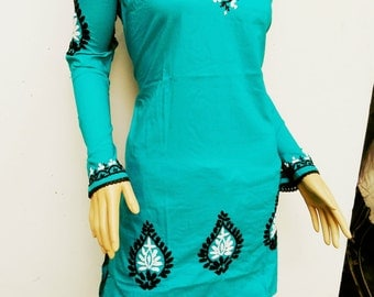 Spring dress Turquoise Salwar kameez bridesmaid tunic aqua tops plus size gypsy clothes gift for her womens summer trends in indian fabric