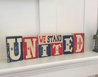 Summer and patriotic reversible wooden blocks.  Hello summer wooden blocks.  United we stand wooden blocks.