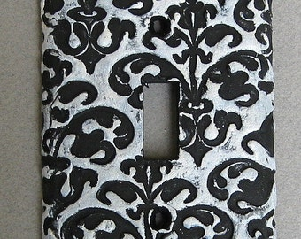 Black White Scroll Floral Switchplate Lightplate Wall Plate Covers