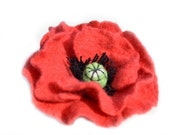Felted poppy flower brooch, pin, felt wool red flower