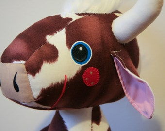 Hewitt the Cow, Bull Stuffed Animal, Softie, Plushie. Brown and Cream Cow Print Fabric. Makes a Great Gift and is Baby Safe.