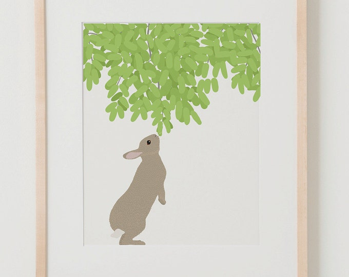 Fine Art Print.  Rabbit Nibbling Branch.  January 5, 2016.
