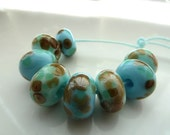 blue and mint choc chip handmade lampwork glass beads