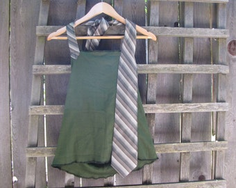 Funky Army Green Backless Halter Top/ Eco Open-back Halter Tie Shirt Summer Festival Tops Gear Beach Cover Up Upcycled Vintage Size M/L