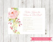 Floral Know the Mom Game | Printable Baby Sprinkle Game | Baby Shower Party Game