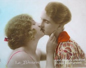 1920s romantic couple card hand tinted French postcard