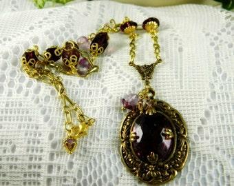 Necklace, Amethyst Necklace, Amethyst Pendant Necklace, Purple Pendant Necklace, Pendant Necklace, Ornate Necklace, Ornate Pendant