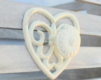 White Knob Heart Knob Antique Look Drawer Cabinet Knob Dresser Knob Rustic Home Decor