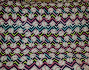 Softball Fleece Tie Blanket