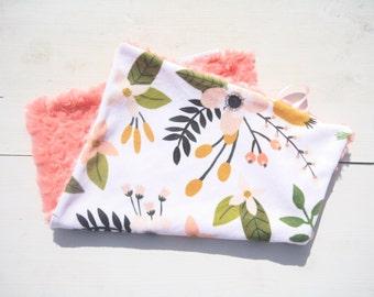 Baby Girl MINKY Lovey Blanket, MINI Minky Baby Blanket, Taggie Blanket, Baby Bedding, Baby Lovey Blanket, Floral Lovey Blanket, Coral Baby