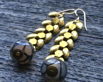 grey AGATE raw wheat brass chain earrings