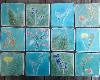 Botanical ceramic tile, Spring flowers, hand cut tile, bluebell, cherry blossom, crocosmia, fern, cow parsley, dandelion, forsythia