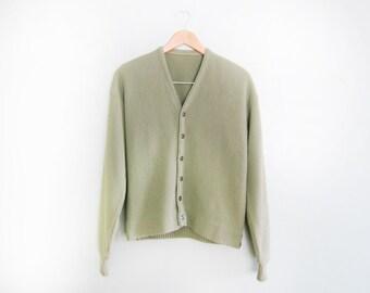 vintage cardigan / grandpa cardigan / 1960s sage green grunge cardigan Small