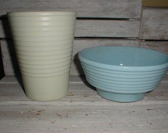 Two Germany Ribbed Planters *Light Blue & Pale Green* Cottage Decor