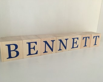 Baby Wooden Name Blocks Neutral with Blue Letters
