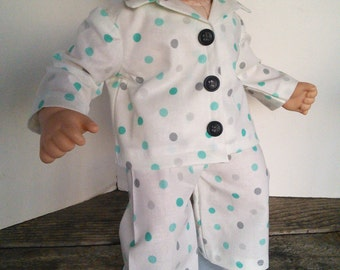 "American Girl 15 ""Bitty Twins Doll Clothing - White Polka Dot Cotton PJ's Pajamas Boy or Girl Bitty Twin"