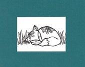 ACEO,  ATC, Fox, Art Trading Card, Hand Drawn, Kid Friendly, Black and White, Animal