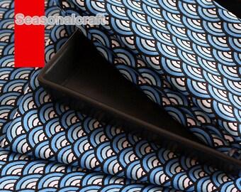 Navy Blue Twill Cotton fabric, Waves Style, Cotton Fabric, 1/2 yard (QT812)