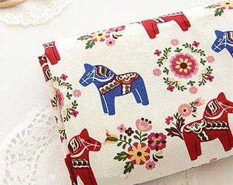 Retro Cotton Canvas Fabric, Dala Horse Style, white bark blue Color Canvas fabric,1/2 Yard (QT856)