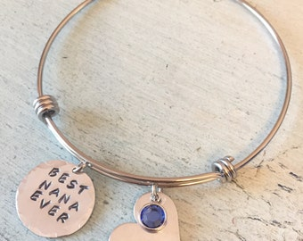 Hand Stamped Bracelet. Nana Bracelet. Best NANA Ever Gift-Personalized- Mother's Day gift-Nana gift. Gift for her. bracelet. Charm bracelet.