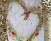 Valentine Heart Card/Valentine Greeting Card/Original Art Card//Heart Wreath Card/FREE SHIPPING