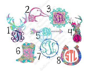 Lilly Pulitzer  inspired Southern Themed printed decal or heat transfer (iron on) deer, buck, horseshoe, boots, duck, barbed wire