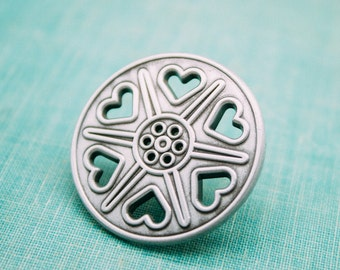 Reel Love - Vintage Film Reel Lapel Pin - antique nickel, 3D molded, hearts, film buff, theater, theatre, movies, film