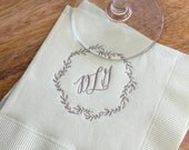Set of 100 Monogrammed Napkins | Leafy Wreath | Wedding or Personalized Home Gift | Darby Cards