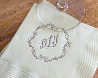 Monogrammed Napkins | Leafy Wreath | Wedding or Personalized Home Gift | Darby Cards