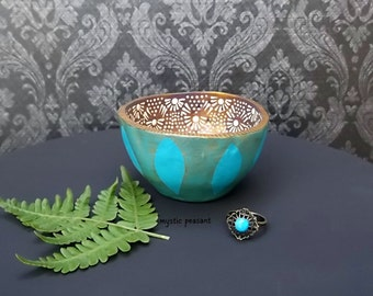 Moroccan Crazy Lace Polymer Ring Bowl - Bohemian Decor - Turquoise Metallic Peridot Bronzed Purple Ivory - Handmade Bowl