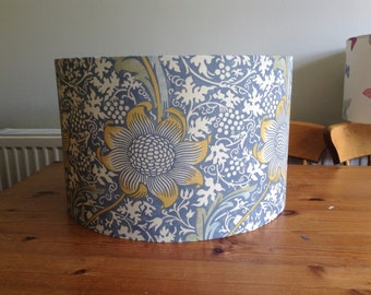 Handmade 30 cm Drum lampshade in blue, mustard, cream fabric