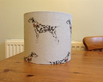 Clearance Handmade 20 cm Drum lampshade in beige dalmation dog fabric