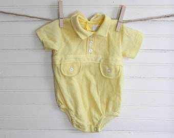 Vintage Baby Bodysuit, Yellow Bodysuit, Baby Boy Outfit, Yellow Jersey Knit Bodysuit, 3-6 Months, 1980s Bodysuit, Vintage Baby SALE