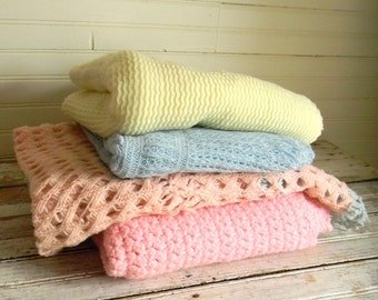Vintage Baby Blanket, Crochet Baby Blanket, Knit Baby Blanket, Lot of Baby Blanket, Crib Linens, Baby Bed Linens, Pink Blanket, Blue Blanket