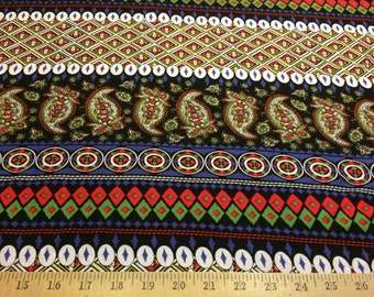 """Poly Cotton Lycra 4 way stretch spandex geometric paisley striped design fabric 62"""" wide sold by the yard"""