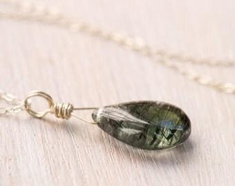 Tourmalinated Quartz Necklace, gemstone necklace, tourmaline necklace, October birthstone, sterling silver, gold, quartz jewelry