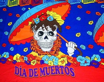 Dia de Muertos, Day of the Dead Blue Fabric, Printed Mediumweight Fabric