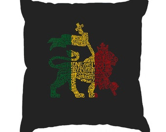 Throw Pillow Cover - Word Art - Rasta Lion - One Love