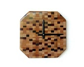 Sale, Wood Wall Clock, Rustic Wood Clock, Exotic Woods, Trending Octagon Checkerboard Clock, Eclectic Art, Home and Living, Home Decor, Cloc