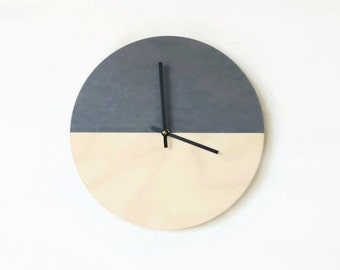 Wall Clock, Trending Minimalist Art,  Natural Wood and Gray,  Housewares, Home and Living, Unique Wall  Clock