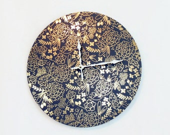 Blue Wall Clock, Metallic Gold Foil,  Floral Home Decor, Bedroom Clock, Home and Living