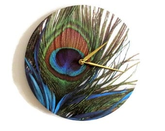 Peacock Wall Clock, Trending Feathers Decor, Unique Wall Clock, Housewarming Gift, Decor and Housewares, Home Decor