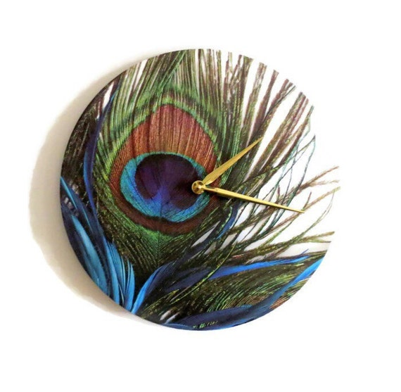 Peacock Wall Clock Trending Feathers Decor Unique Wall