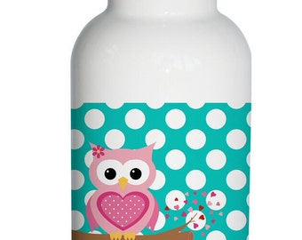 polka dot owl Personalized Aluminum Water Bottle