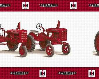Items similar to farmall international harvester tractor - Farmall tractor wallpaper border ...